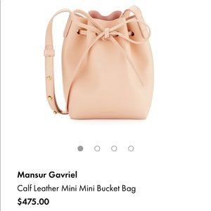NWT Mansur Gavriel mini mini Rosa bucket bag.